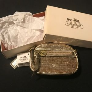 Coach Poppy Gold Sequin Change Purse NWT